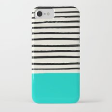 Aqua & Stripes iPhone 7 Slim Case