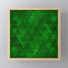 Bright green triangles in intersection and overlay. Framed Mini Art Print