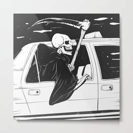 Passenger taxi grim - black and white - gothic reaper Metal Print