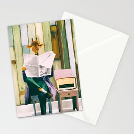 Giraffe reads the paper... Stationery Cards