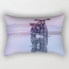 Where the Journey  begins Motorcycle at the Water Sunset Rectangular Pillow