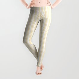 Classic Small Buttercup Yellow Pastel Butter French Mattress Ticking Double Stripes Leggings