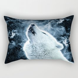 A howling wolf in the rain Rectangular Pillow