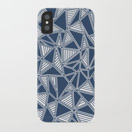 Abstract Outline Lines Navy iPhone Case
