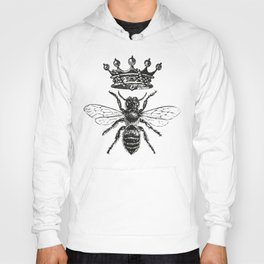 Queen Bee | Vintage Bee with Crown | Black and White | Hoody