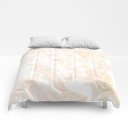 White Marble Pastel Pink and Gold by Nature Magick Comforters