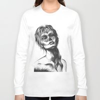sugar skull Long Sleeve T-shirts featuring Sugar Skull by Lena Safaniouk