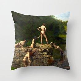 Thomas Eakins Swimming Throw Pillow