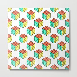 Rubiks Cube Pattern Metal Print