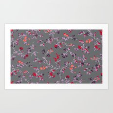 floral vines - dark grey and lilacs Art Print