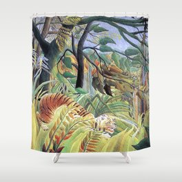 Tiger in a Tropical Storm (Surprised!) by Henri Rousseau 1891 // Jungle Rain Stormy Weather Scene Shower Curtain