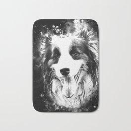 border collie shepherd dog splatter watercolor white Bath Mat