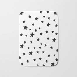 Black and White Stars Bath Mat