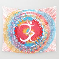 om Wall Tapestries featuring Om by fneo