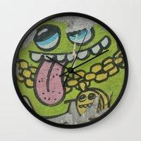 grafitti Wall Clocks featuring Key West Grafitti by Cassidy Marshall