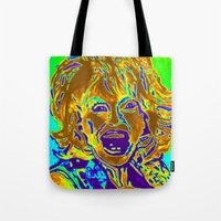 """dolly parton Tote Bags featuring """"Dolly Halfway II"""" by Eat, Paint, Love. Pattiann Withapea"""