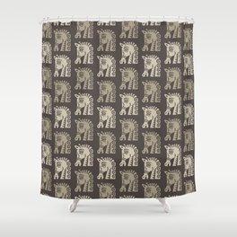 Mid Century Horse Pattern Neutral Shower Curtain