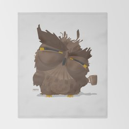 Grumpy coffee owl Throw Blanket