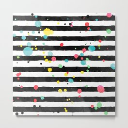 Watercolor splatters on stripes Metal Print