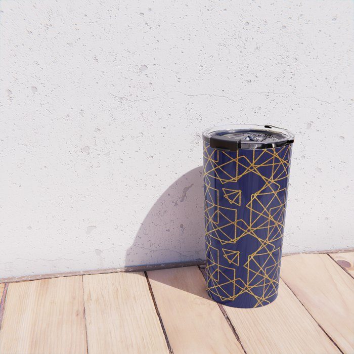 Navy blue and gold geometric print. Travel Mug