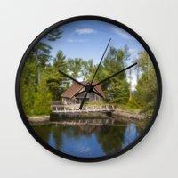 michigan Wall Clocks featuring Michigan Cottage by davehare