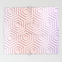 3D Hexagon Gradient Minimal Minimalist Geometric Pastel Soft Graphic Rose Gold Pink Throw Blanket