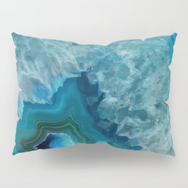 Teal Blue Agate slice Pillow Sham