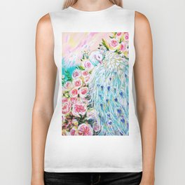 White peacock and roses Biker Tank