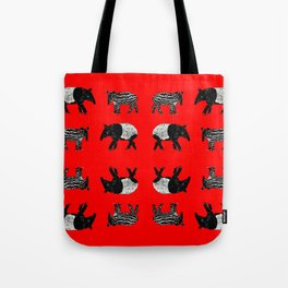 Dance of the Tapirs in red Tote Bag