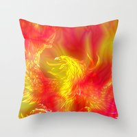 phoenix Throw Pillows featuring Phoenix by Paula Belle Flores