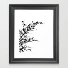 Bamboo Branch and Leaves as Silhouette Framed Art Print