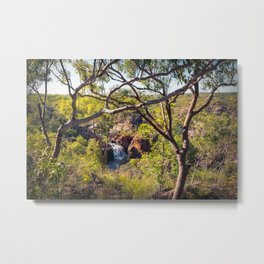 Edith Falls framed between trees, Katherine, Australia Metal Print