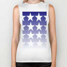 Blue and White Stars, Blue Faded Background With White Stars Biker Tank