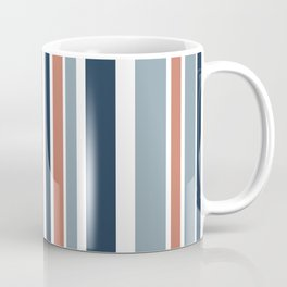 Vertical Stripes in Blues, Blush Coral, and White Coffee Mug