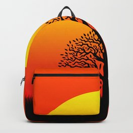 Sunset and tree of life in the savannah Backpack
