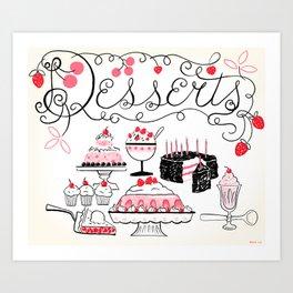 Midcentury Recipes Make Sweet And Lovely Vintage Desserts Art Print