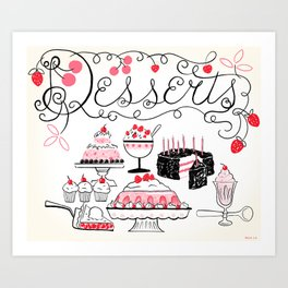 Midcentury Recipes Make Sweet And Lovely Vintage Desserts Art Print