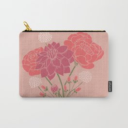 Pink Floral Bouquet in a Vase Carry-All Pouch