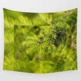 Green coniferous fresh shoots detail Wall Tapestry