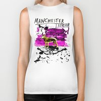 manchester Biker Tanks featuring Manchester Terier by Genco Demirer