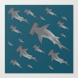 Hammerhead shark school Canvas Print