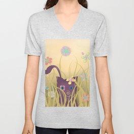 Wild Kitty Cat, Spring Blooming Flowers, Golden Beige Sky Unisex V-Neck