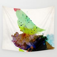 wesley bird Wall Tapestries featuring Bird standing on a tree by contemporary