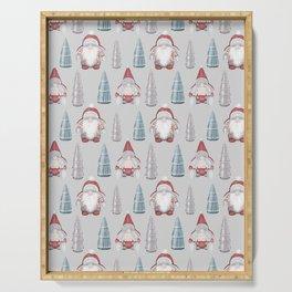 CHRISTMAS GNOMES - grey Serving Tray