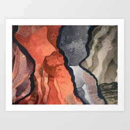 Cool Gray, Tan and Red Patterns Art Print