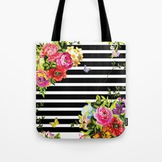 Stripes Floral Tote Bag