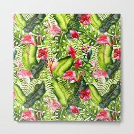 Aloha- Tropical Flamingo Bird and Hibiscus Palm Leaves Garden Metal Print