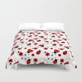 Red Ladybug Floral Pattern Duvet Cover