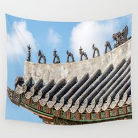 seoul Wall Tapestries featuring Asian Tale, Palace Roof, Seoul by Jennifer Stinson