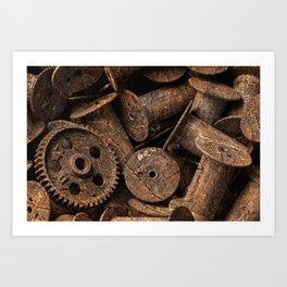 Cracked Wood Bobbins Art Print